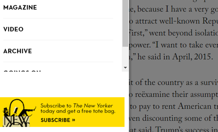 The New Yorker Banner Ad1 6 Tricks To Help You Monetize Web Traffic