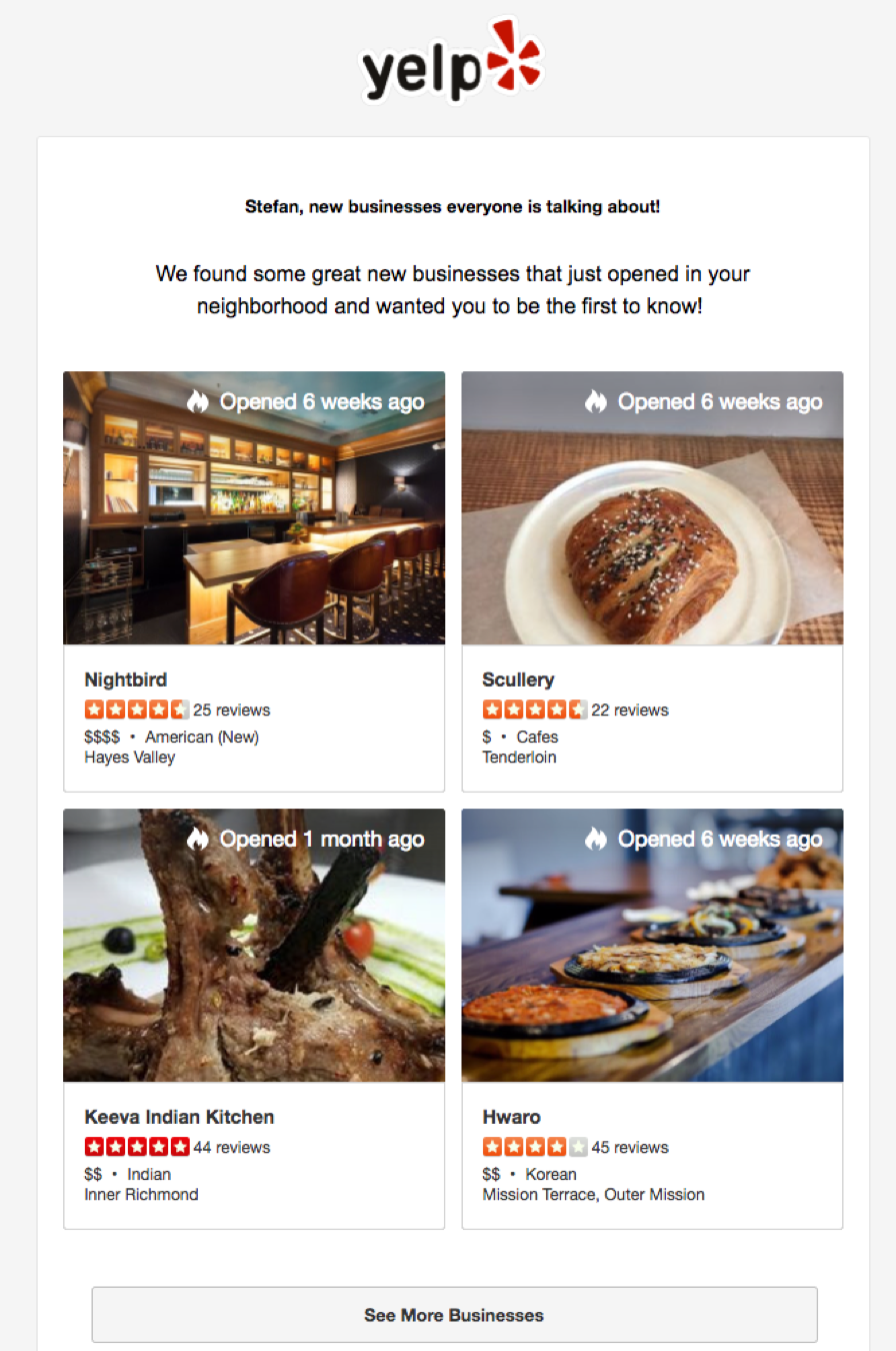 personalize emails yelp 7 Personalized Marketing Tactics to Boost Ecommerce Conversions